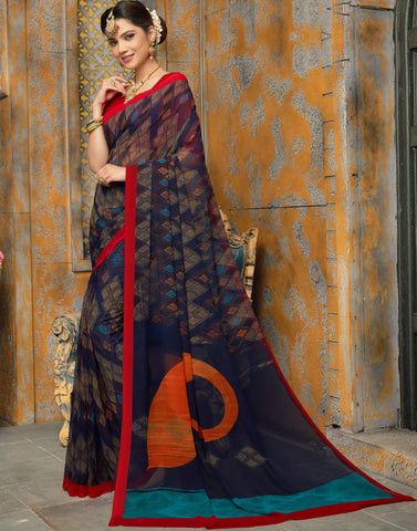 Blue Color Georgette Kitty Party Sarees : Sarasvi Collection YF-70597
