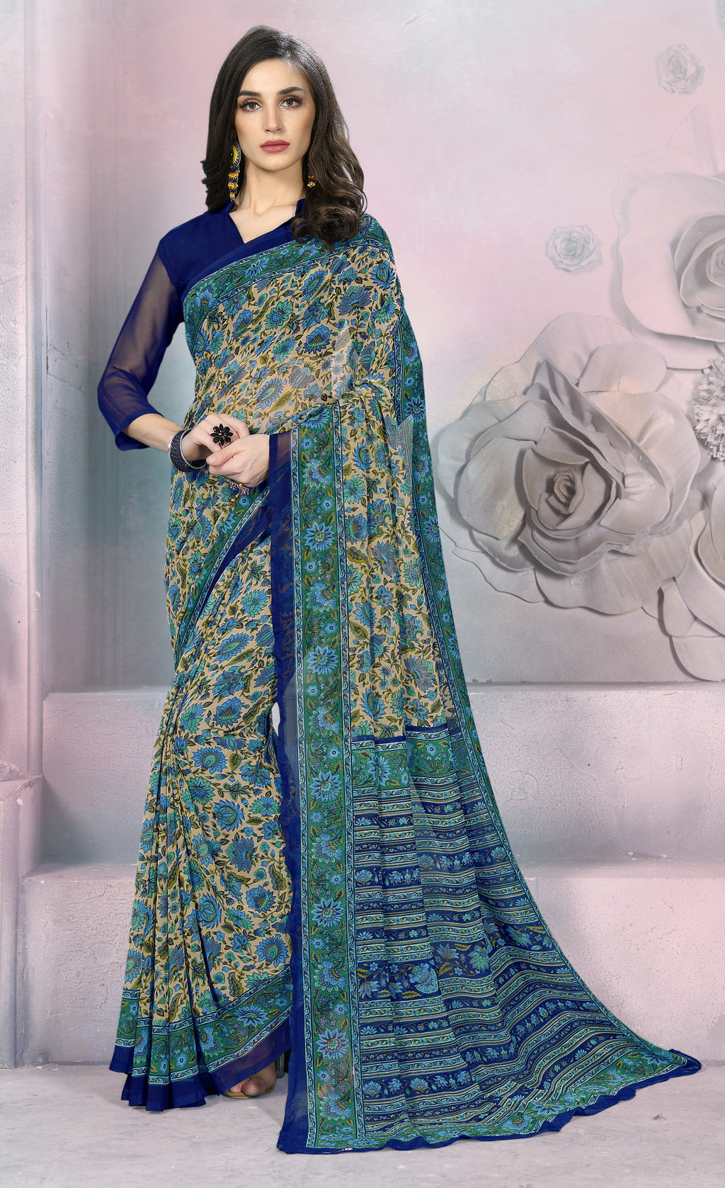 Blue Color Georgette Daily Wear Sarees NYF-8530