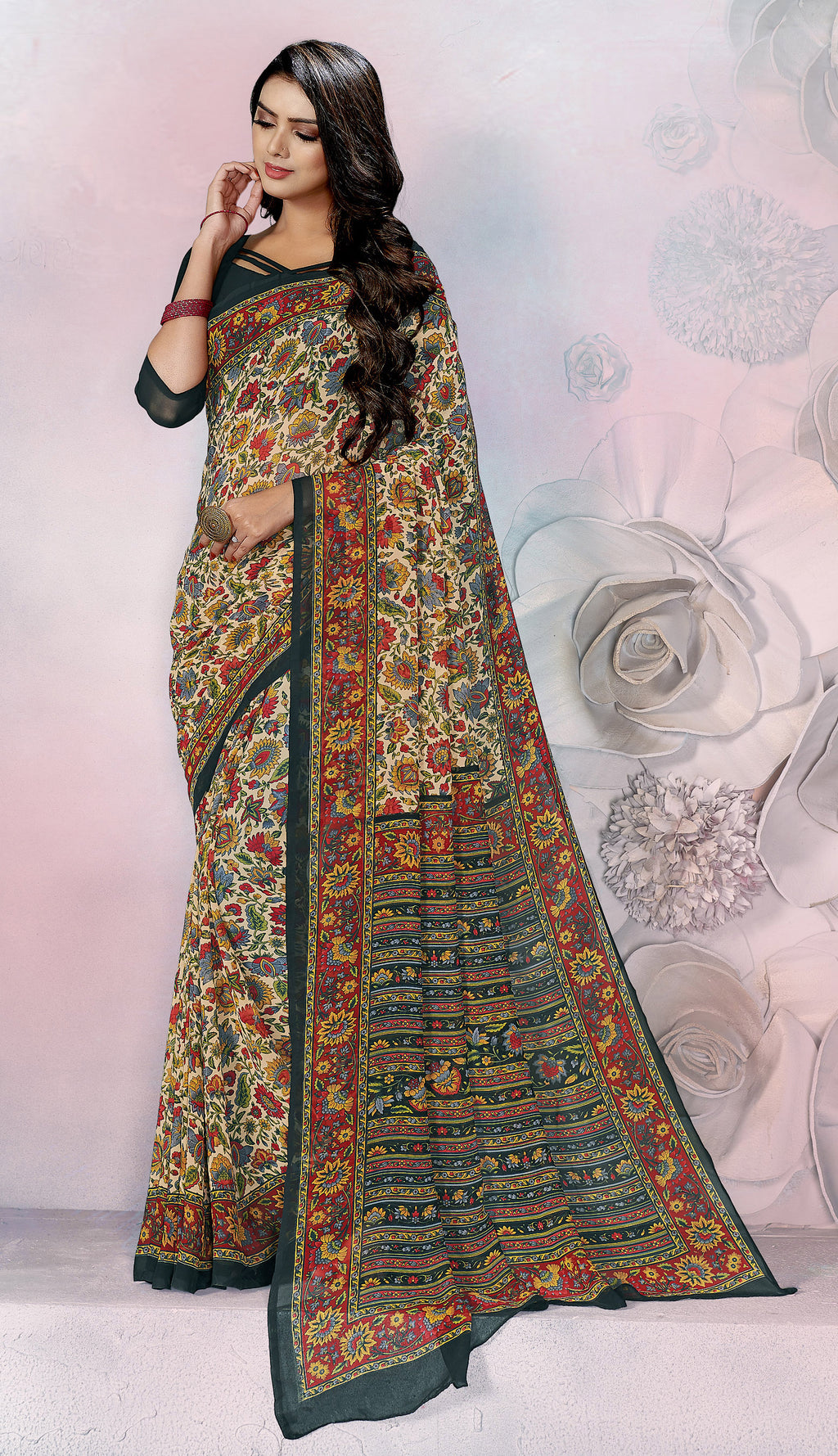 Multi Color Georgette Daily Wear Sarees NYF-8532
