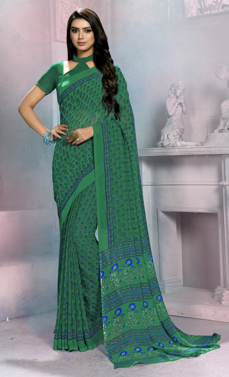 Green Color Georgette Daily Wear Sarees NYF-8533