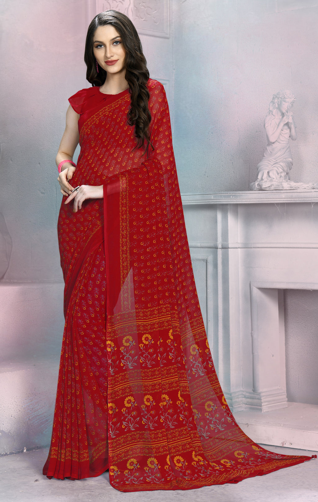 Red Color Georgette Daily Wear Sarees NYF-8534
