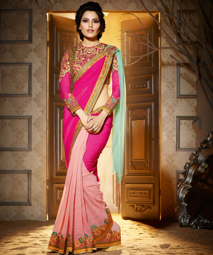 Light & Dark Pink Color Half Tissue & Half Georgette Designer Wedding Wear Sarees : Jasmit Collection  NYF-2853 - YellowFashion.in