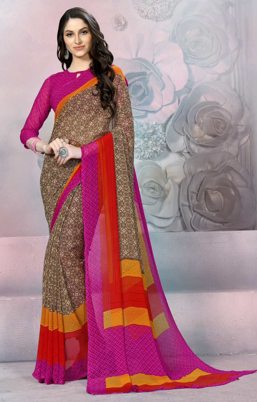 Brown, Pink & Red Color Georgette Daily Wear Sarees NYF-8535
