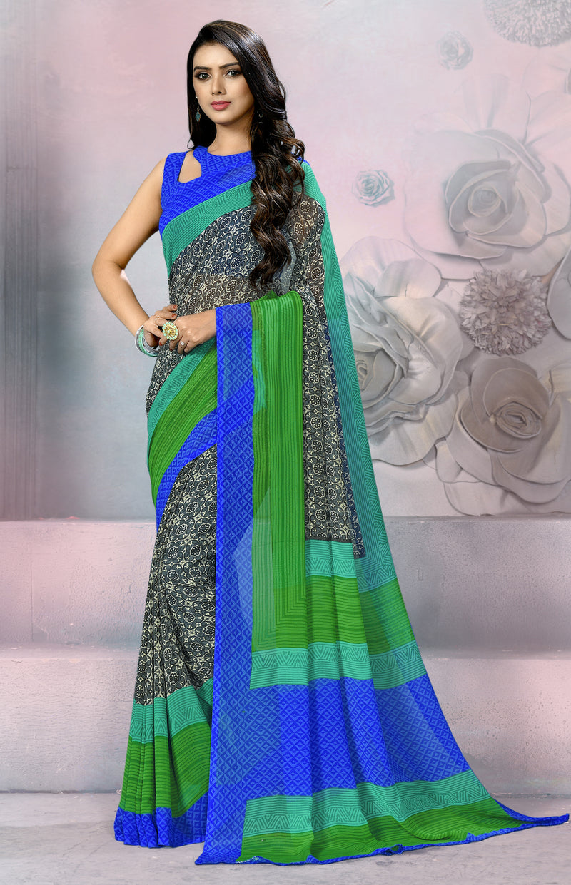 Grey, Blue & Green Color Georgette Daily Wear Sarees NYF-8536