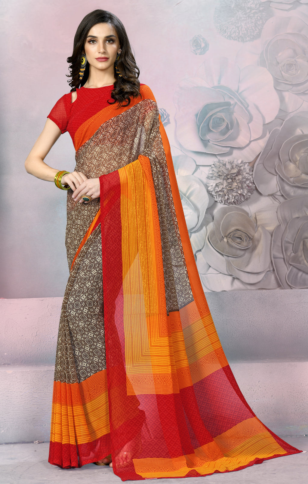 Brown, Red & Yellow Color Georgette Daily Wear Sarees NYF-8537