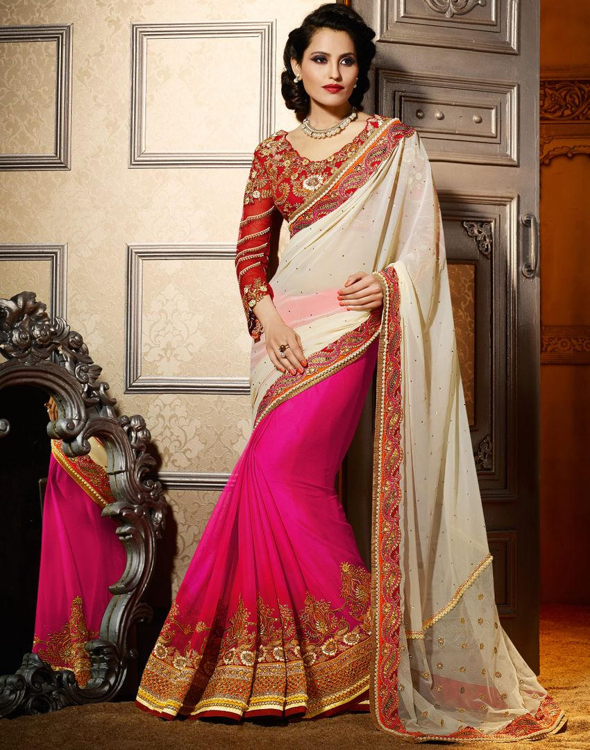 Cream & Pink Color Chiffon Designer Wedding Wear Sarees : Jasmit Collection  NYF-2854 - YellowFashion.in