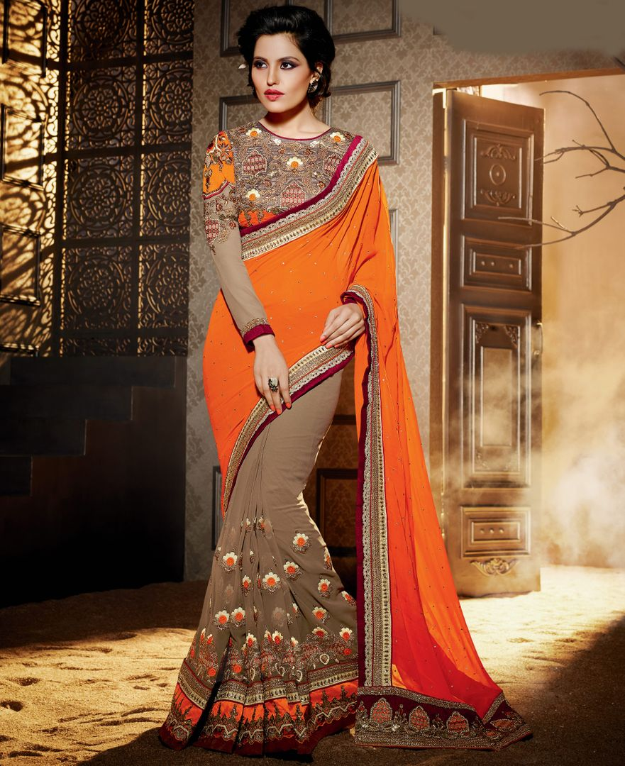 Orange & Brown Color Chiffon Designer Wedding Wear Sarees : Jasmit Collection  NYF-2855 - YellowFashion.in