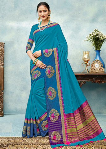 Firozi Color Chanderi Cotton Festive & Party Wear Sarees : Nakshit Collection YF-69322
