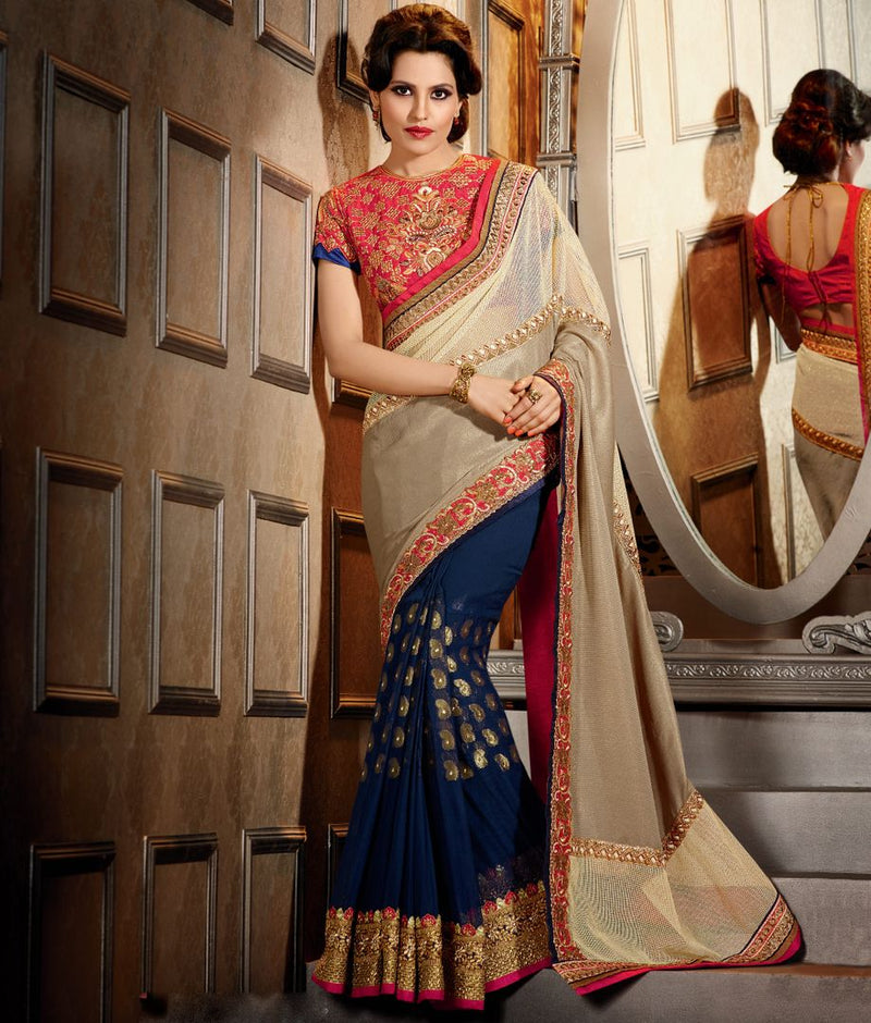 Blue, Beige & Cream Color Half Tissue & Half Fancy Net Designer Wedding Wear Sarees : Jasmit Collection  NYF-2850 - YellowFashion.in