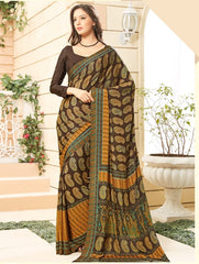 Brown Color Crepe Office Wear Sarees : Namrahi Collection  YF-50438