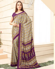 Cream & Purple Color Crepe Office Wear Sarees : Namrahi Collection  YF-50442