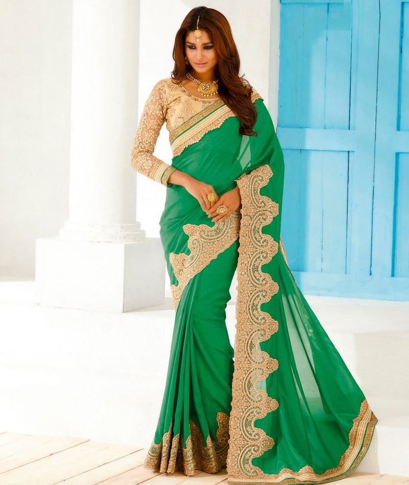 Pearl Green Color Georgette Party Wear Sarees : Pinati Collection  NYF-3356 - YellowFashion.in