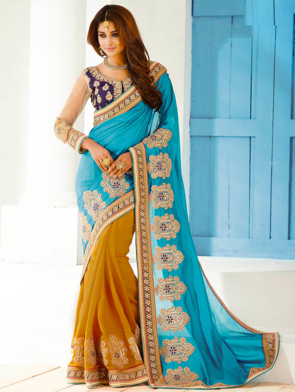 Firozi & Yellow Color Half Georgette & Half Chiffon Party Wear Sarees : Pinati Collection  NYF-3357 - YellowFashion.in