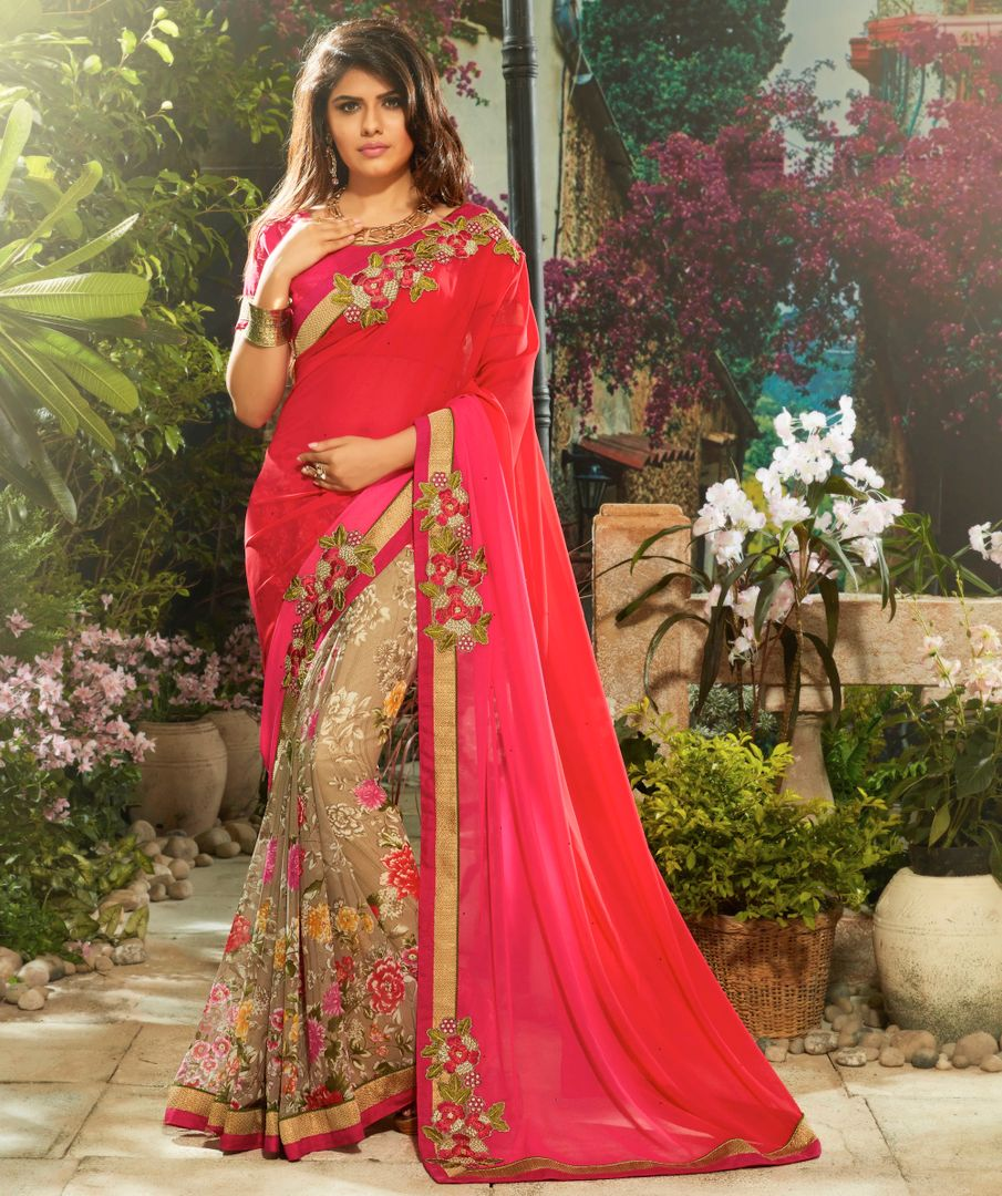 Light Coffee & Pink Color Chiffon Party Wear Sarees : Pinati Collection  NYF-3358 - YellowFashion.in