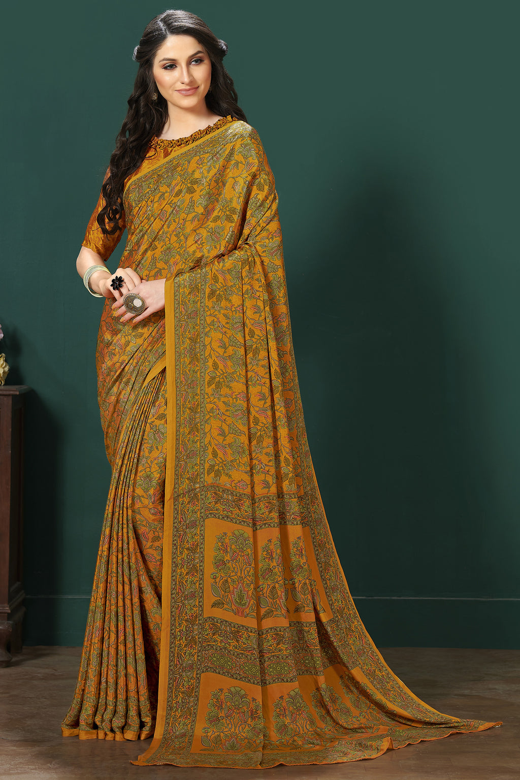 Mustard Yellow Color Crepe  Digital Print Kitty Party Sarees NYF-8119