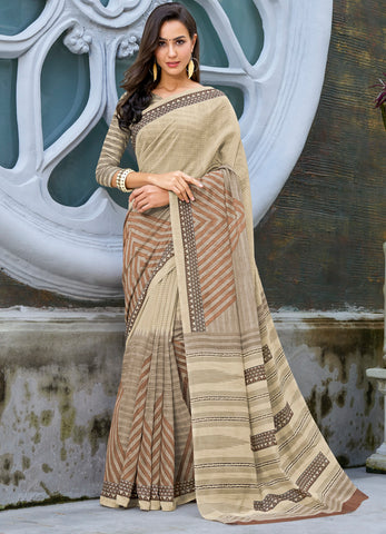 Beige Color Bhagalpuri Party Wear Sarees : Khubsa Collection YF-69284