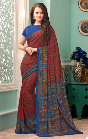 Maroon & Blue Color Crepe Casual Party Sarees : Nrishit Collection YF-63009