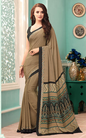 Light Coffee & Black Color Crepe Casual Party Sarees : Nrishit Collection YF-63014