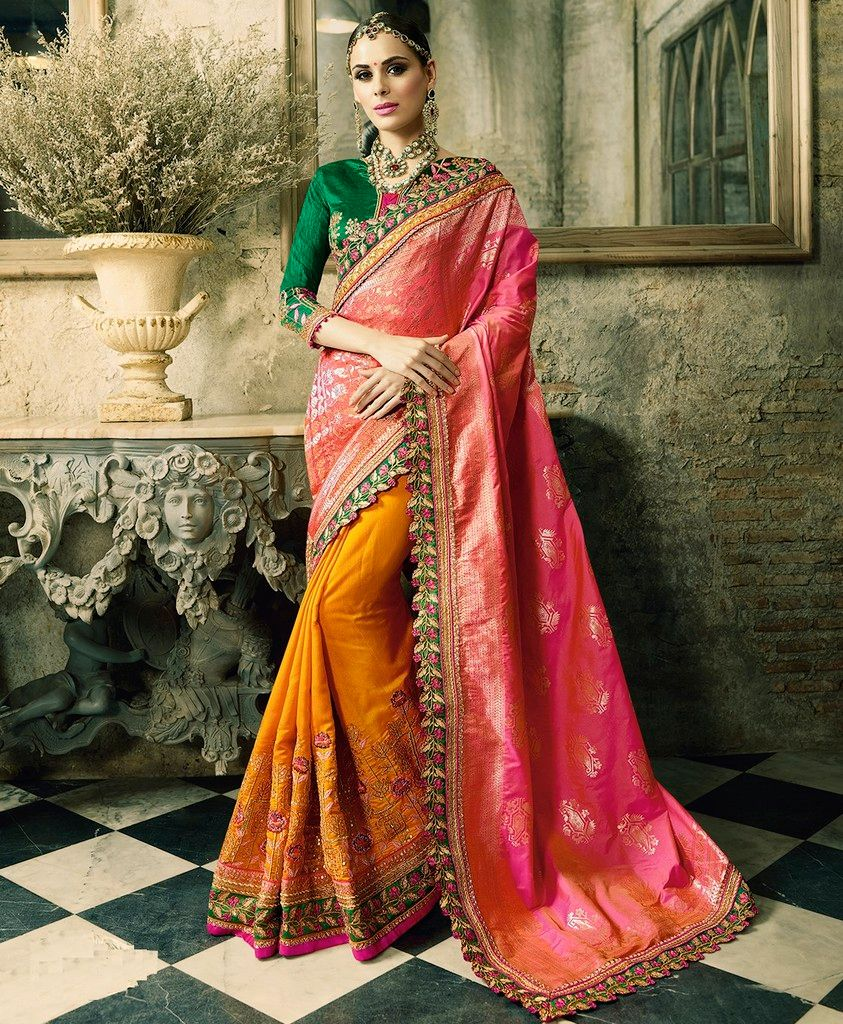 Turmeric Yellow & Pink Color Raw Silk Designer Wedding Wear Sarees : Sunehra Collection  NYF-1484 - YellowFashion.in