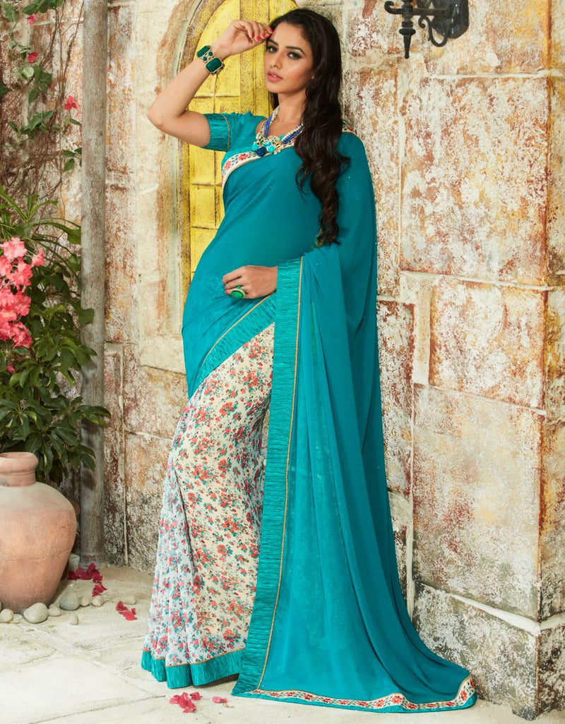 Rama Blue & Cream Color Chiffon Party Wear Sarees : Pinati Collection  NYF-3360 - YellowFashion.in