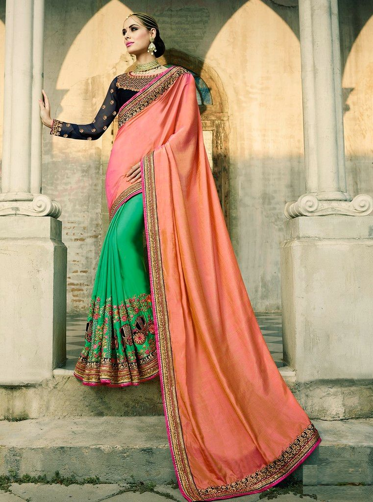 Peach & Green Color Raw Silk Designer Wedding Wear Sarees : Sunehra Collection  NYF-1485 - YellowFashion.in