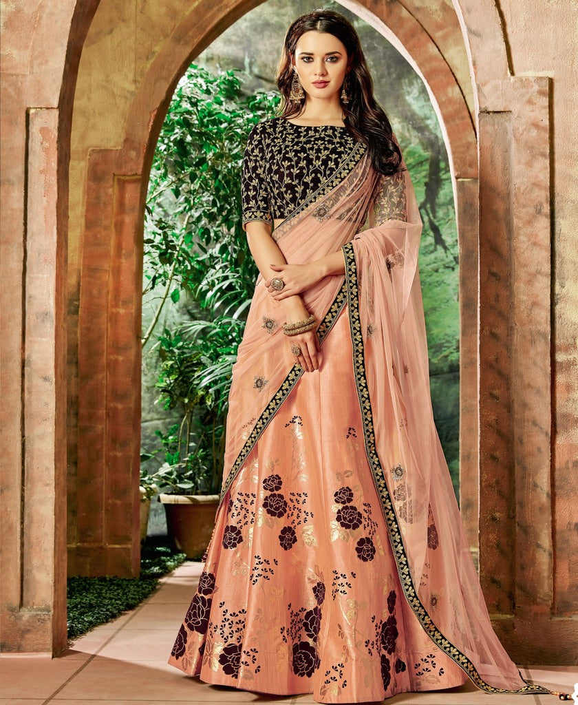 Peach Color Raw Silk Lehenga For Wedding Functions : Nasima Collection  NYF-1850 - YellowFashion.in
