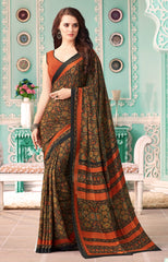 Black Color Crepe Casual Party Sarees : Nrishit Collection YF-63022