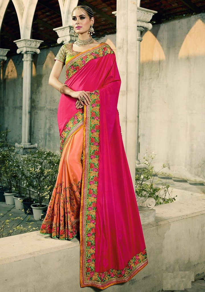 Pink & Peach Color Raw Silk Designer Wedding Wear Sarees : Sunehra Collection  NYF-1486 - YellowFashion.in