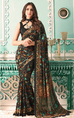 Black Color Crepe Casual Party Sarees : Nrishit Collection YF-63026