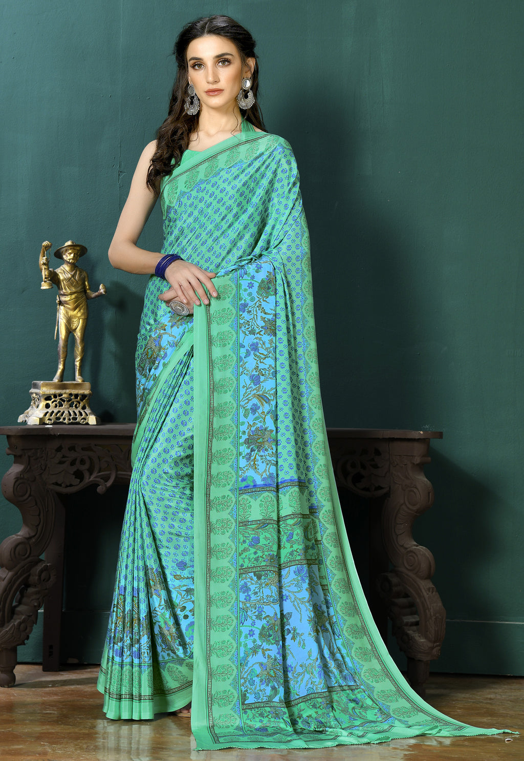 Aqua Green Color Crepe  Digital Print Kitty Party Sarees NYF-8131