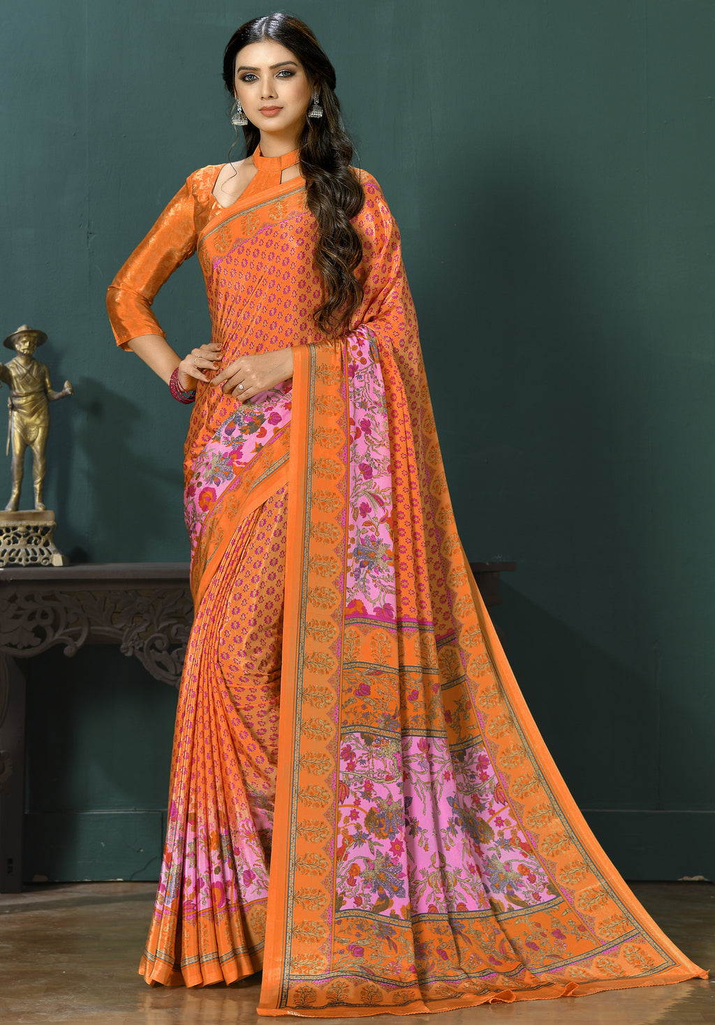 Orange Color Crepe  Digital Print Kitty Party Sarees NYF-8132