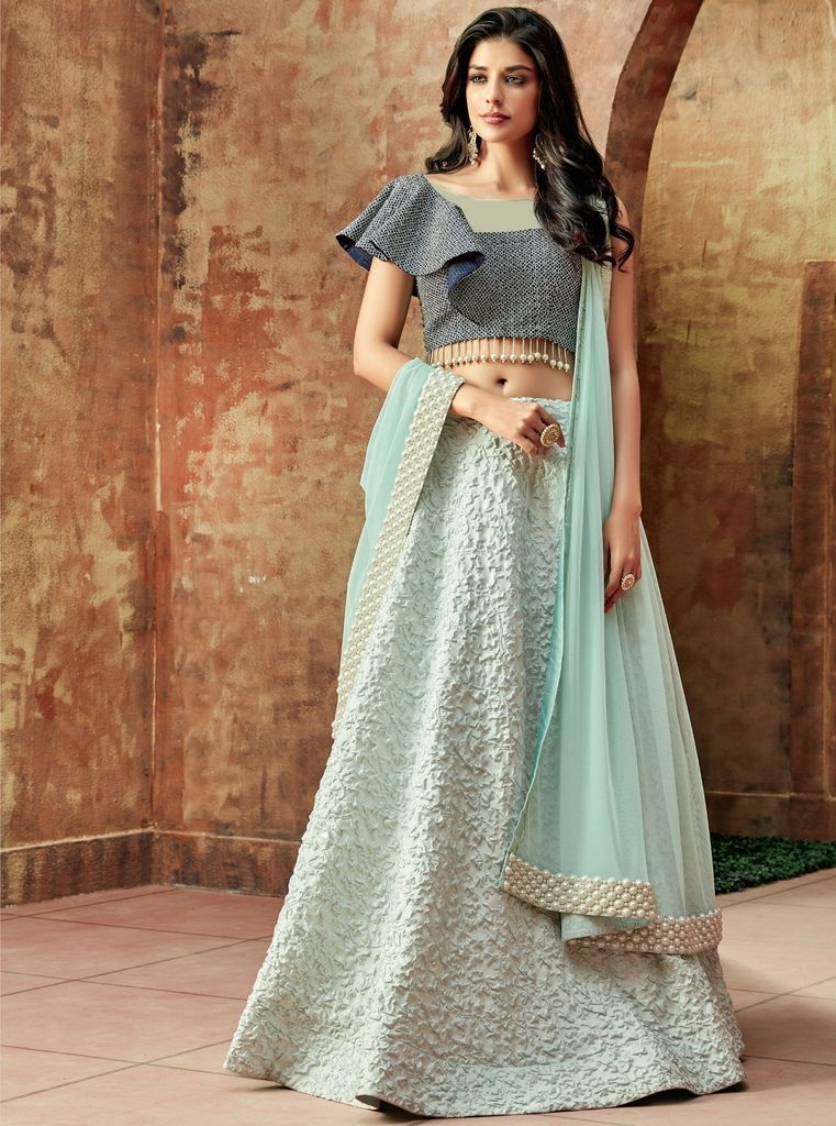 Aqua Blue Color Raw Silk Lehenga For Wedding Functions : Nasima Collection  NYF-1796 - YellowFashion.in