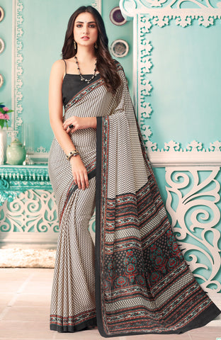 White & Black Color Crepe Casual Party Sarees : Nrishit Collection YF-63027