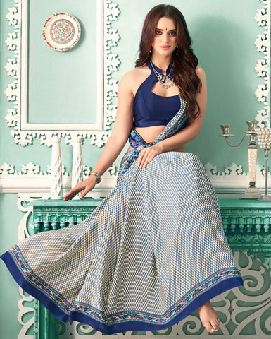 White & Blue Color Crepe Casual Party Sarees : Nrishit Collection YF-63029
