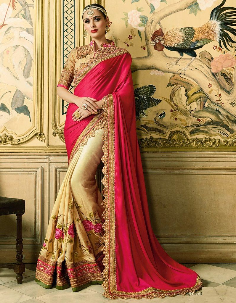 Light Coffee & Pink Color Raw Silk Designer Wedding Wear Sarees : Sunehra Collection  NYF-1487 - YellowFashion.in