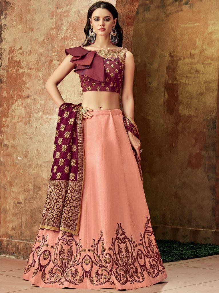 Pink Color Raw Silk Lehenga For Wedding Functions : Nasima Collection  NYF-1797 - YellowFashion.in