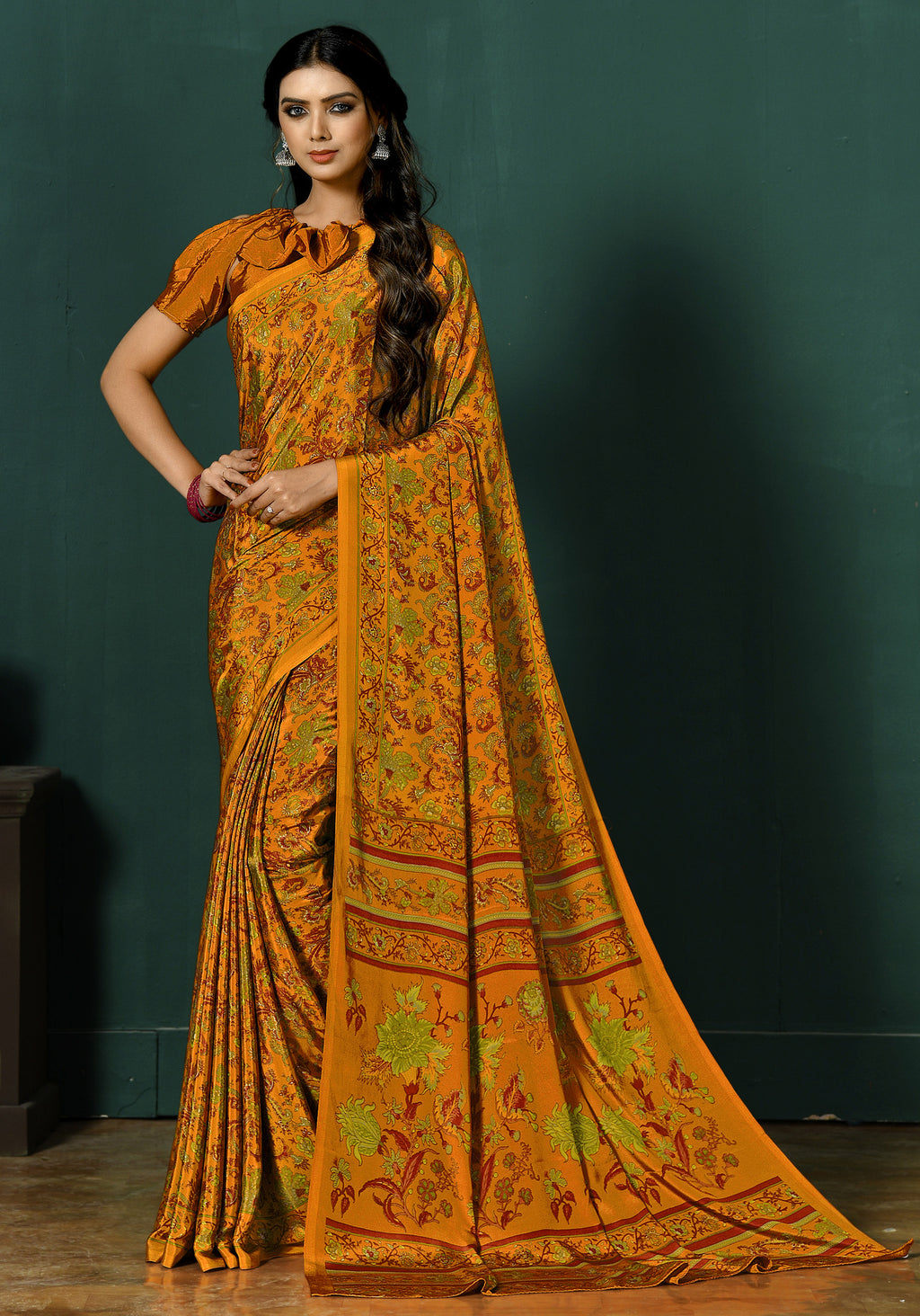 Mustard Yellow Color Crepe  Digital Print Kitty Party Sarees NYF-8135