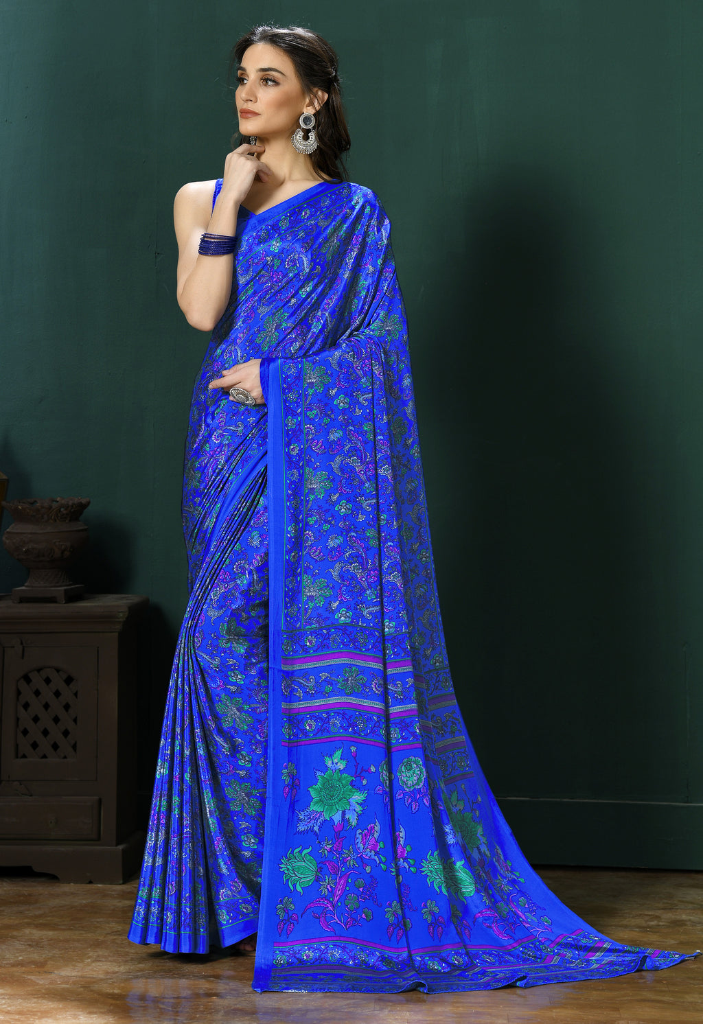 Ink Blue Color Crepe  Digital Print Kitty Party Sarees NYF-8136