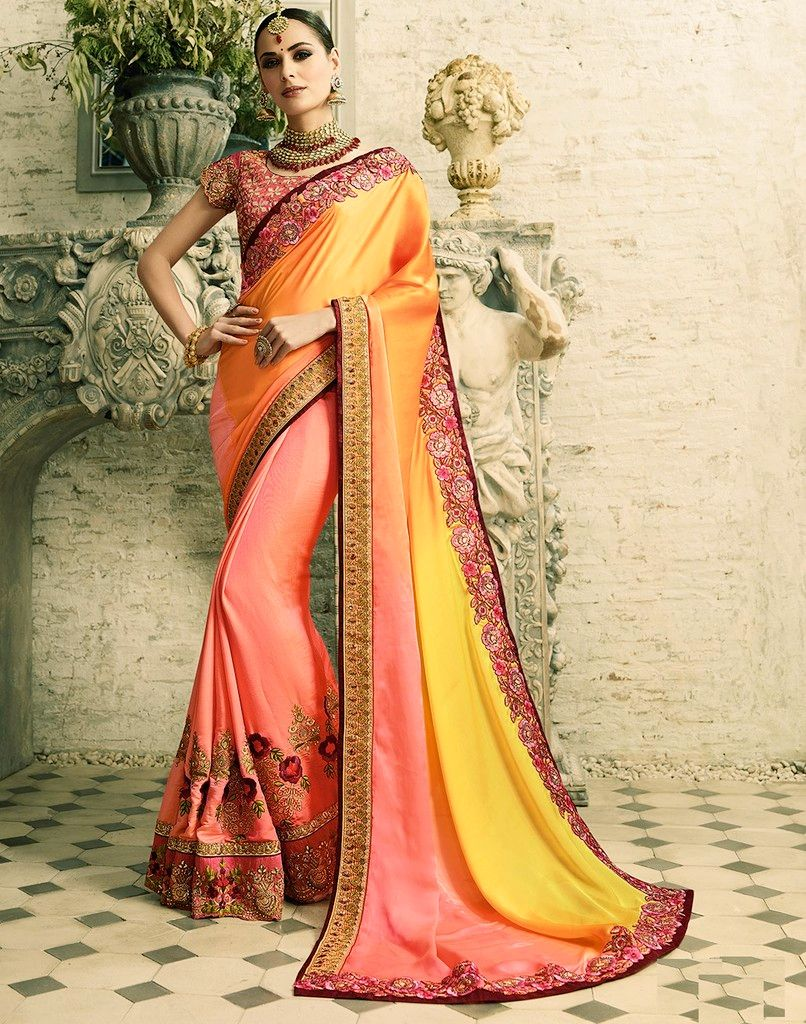 Peach & Orange Color Half Raw Silk & Half Crepe Silk Designer Wedding Wear Sarees : Sunehra Collection  NYF-1488 - YellowFashion.in