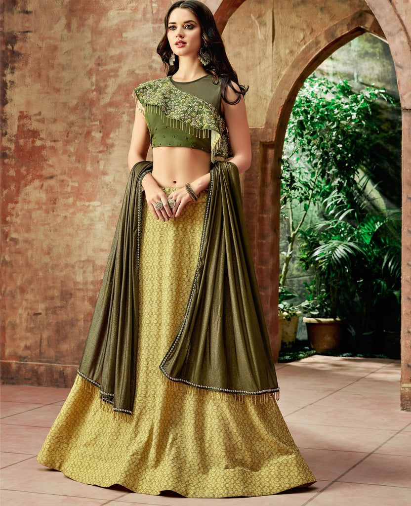Yellow Color Fancy Lycra Lehenga For Wedding Functions : Nasima Collection  NYF-1852 - YellowFashion.in