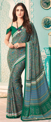 Green Color Crepe Casual Party Sarees : Nrishit Collection YF-63032