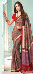 Red Color Crepe Casual Party Sarees : Nrishit Collection YF-63033