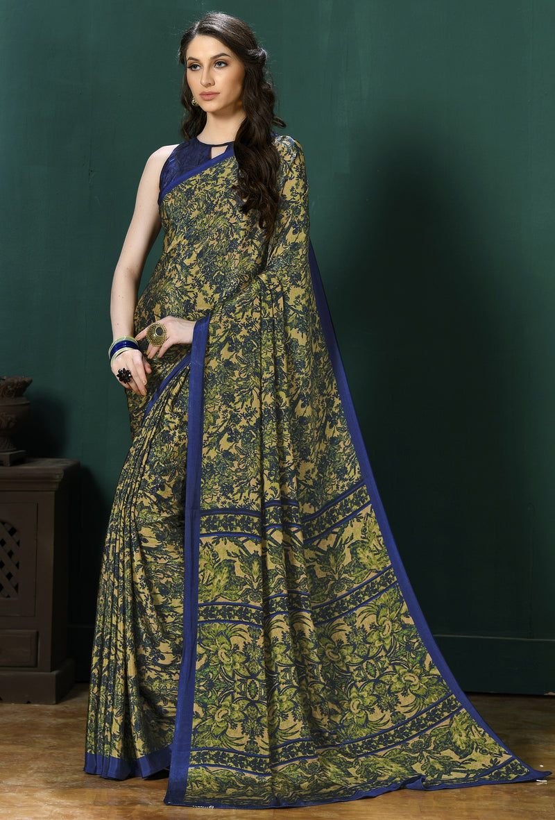 Blue Color Crepe  Digital Print Kitty Party Sarees NYF-8138