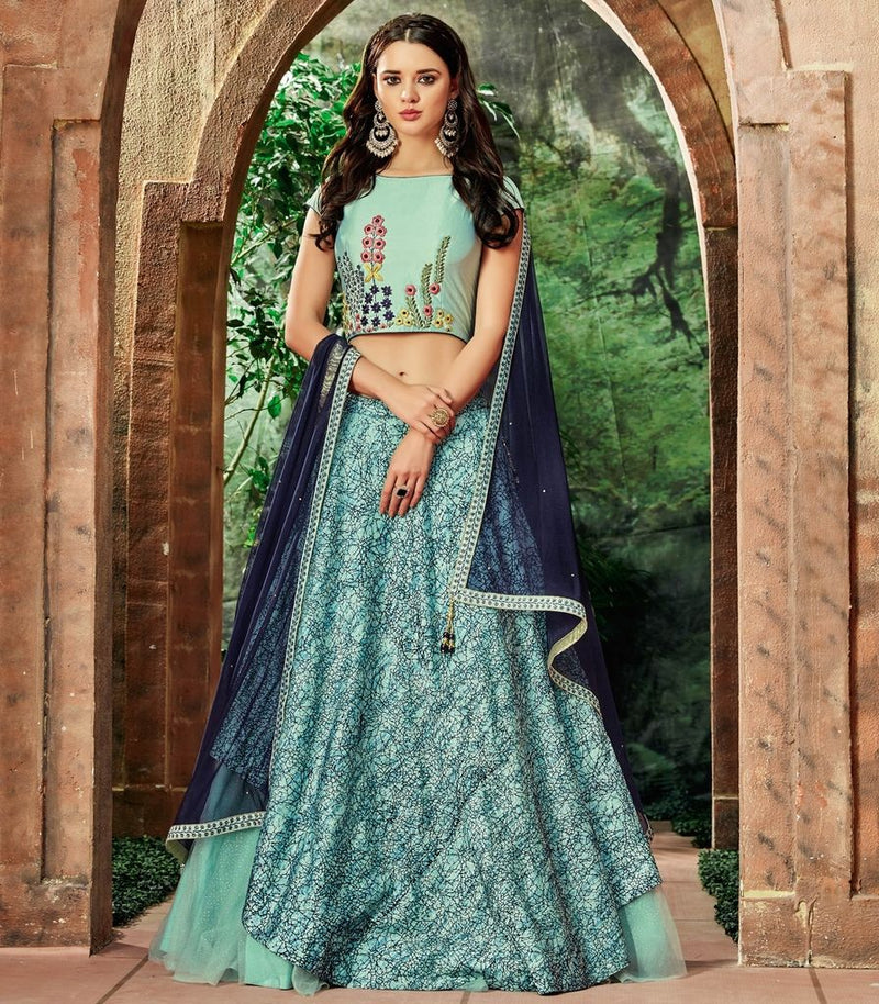 Aqua Blue Color Raw Silk Lehenga For Wedding Functions : Nasima Collection  NYF-1798 - YellowFashion.in