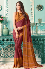 Maroon Color Crepe Casual Party Sarees : Nrishit Collection YF-63036