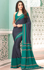 Blue Color Crepe Casual Party Sarees : Nrishit Collection YF-63037