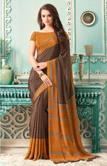 Brown Color Crepe Casual Party Sarees : Nrishit Collection YF-63038