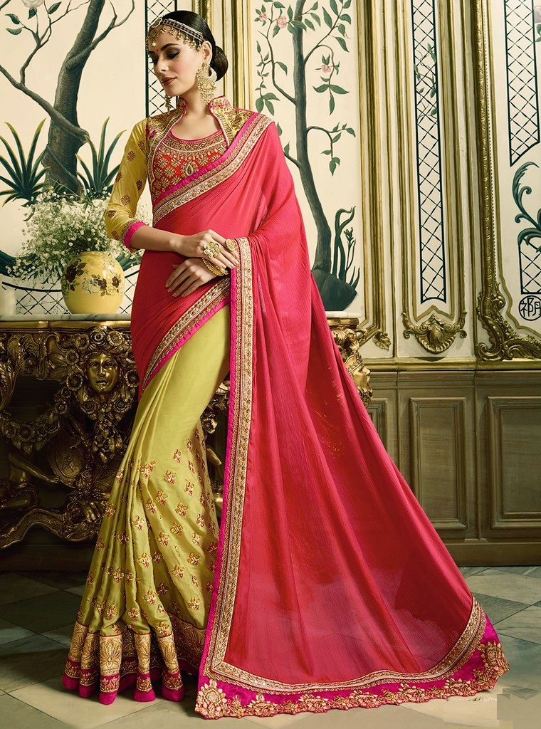 Pink & Green Color Half Chiffon & Half Raw Silk Designer Wedding Wear Sarees : Sunehra Collection  NYF-1489 - YellowFashion.in