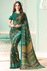 Green Color Crepe Casual Party Sarees : Nrishit Collection YF-63039