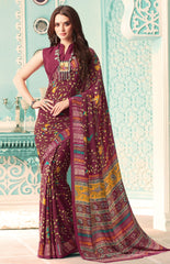 Maroon Color Crepe Casual Party Sarees : Nrishit Collection YF-63040